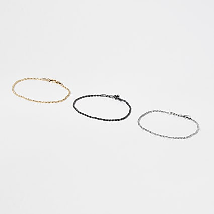 Metal multi twist chain bracelet pack