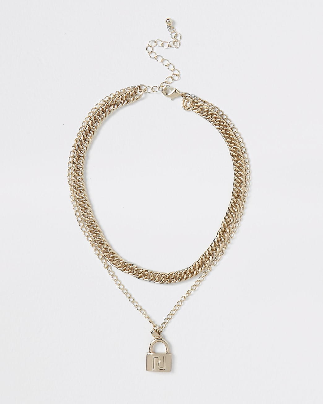 Metal padlock layering necklace