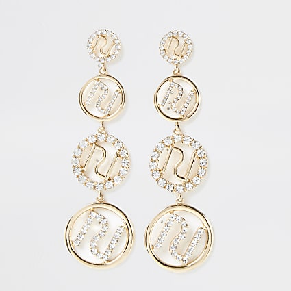 Metal RI diamante drop earrings