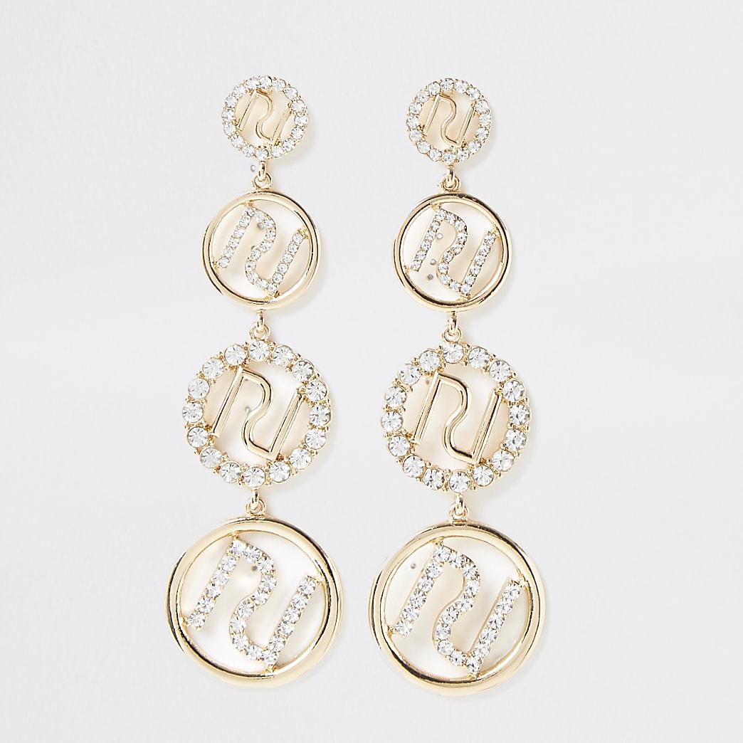 Metal RI diamante drop earrings