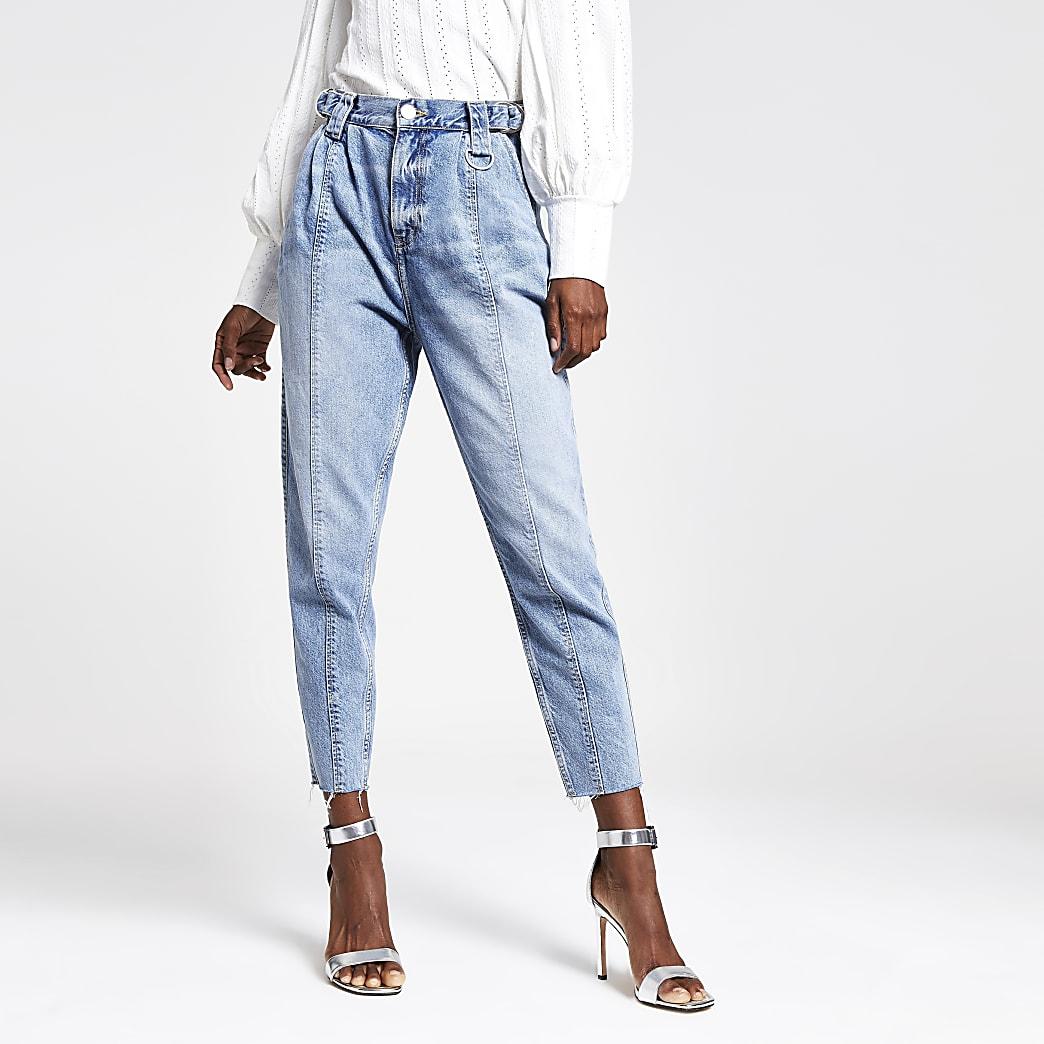 Middenblauwe jeans met rechte pijpen