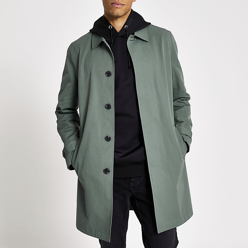 Mid blue concealed button water resistant mac
