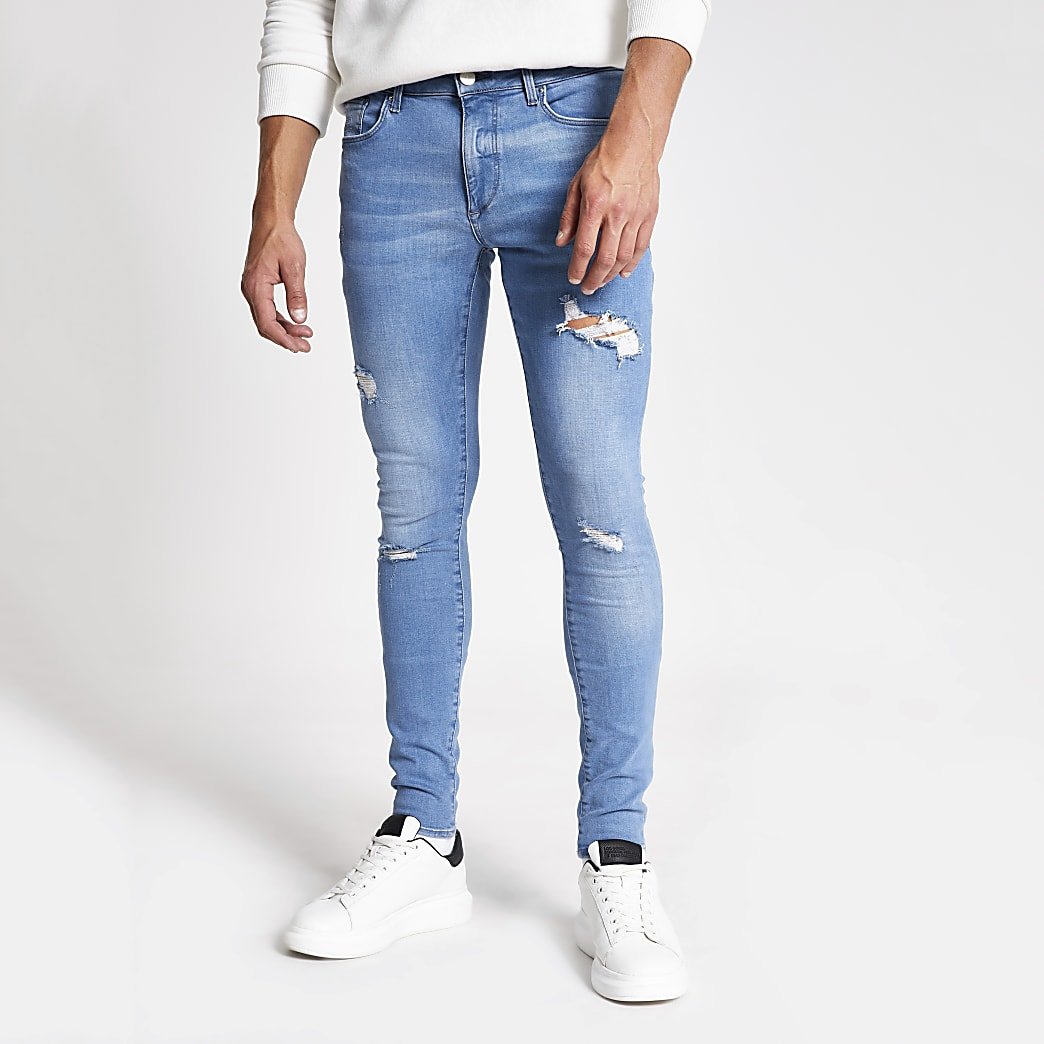 Mid blue Ollie ripped spray on skinny jeans