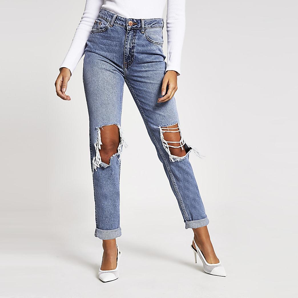 Mittelblaue Mom-Jeans im Used-Look