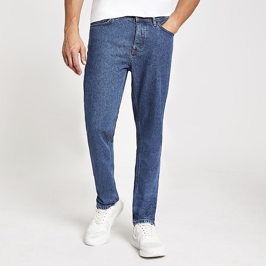 Ronnie - Middenblauwe relaxte rechte jeans