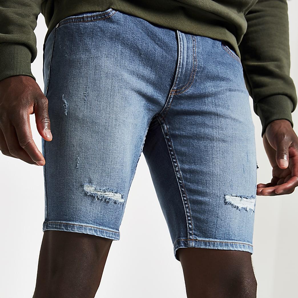 Middenblauwe skinny-fit denim short