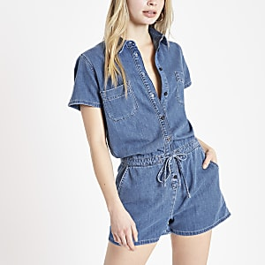 Mid blue utility denim playsuit