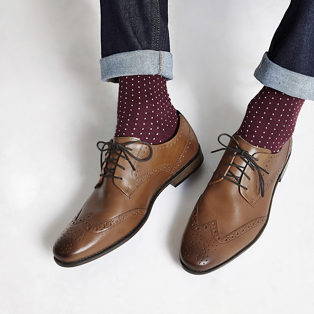 Mid brown wide fit leather lace-up brogues