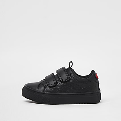 Mini black RI embossed trainers