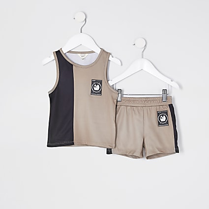 Mini boy stone blocked vest mesh outfit