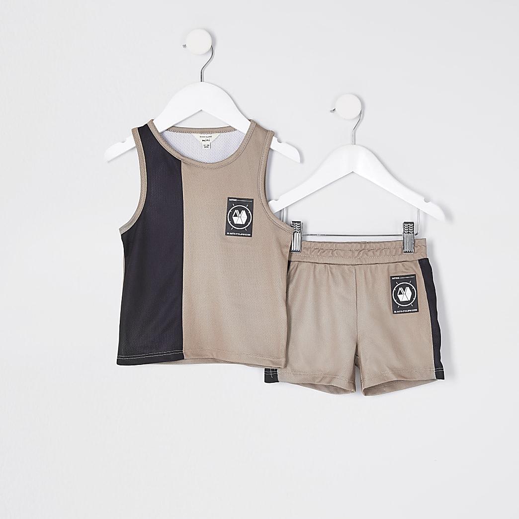 Mini boy stone blocked vest mesh set