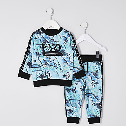 Mini boy turquoise Active oil slick tracksuit