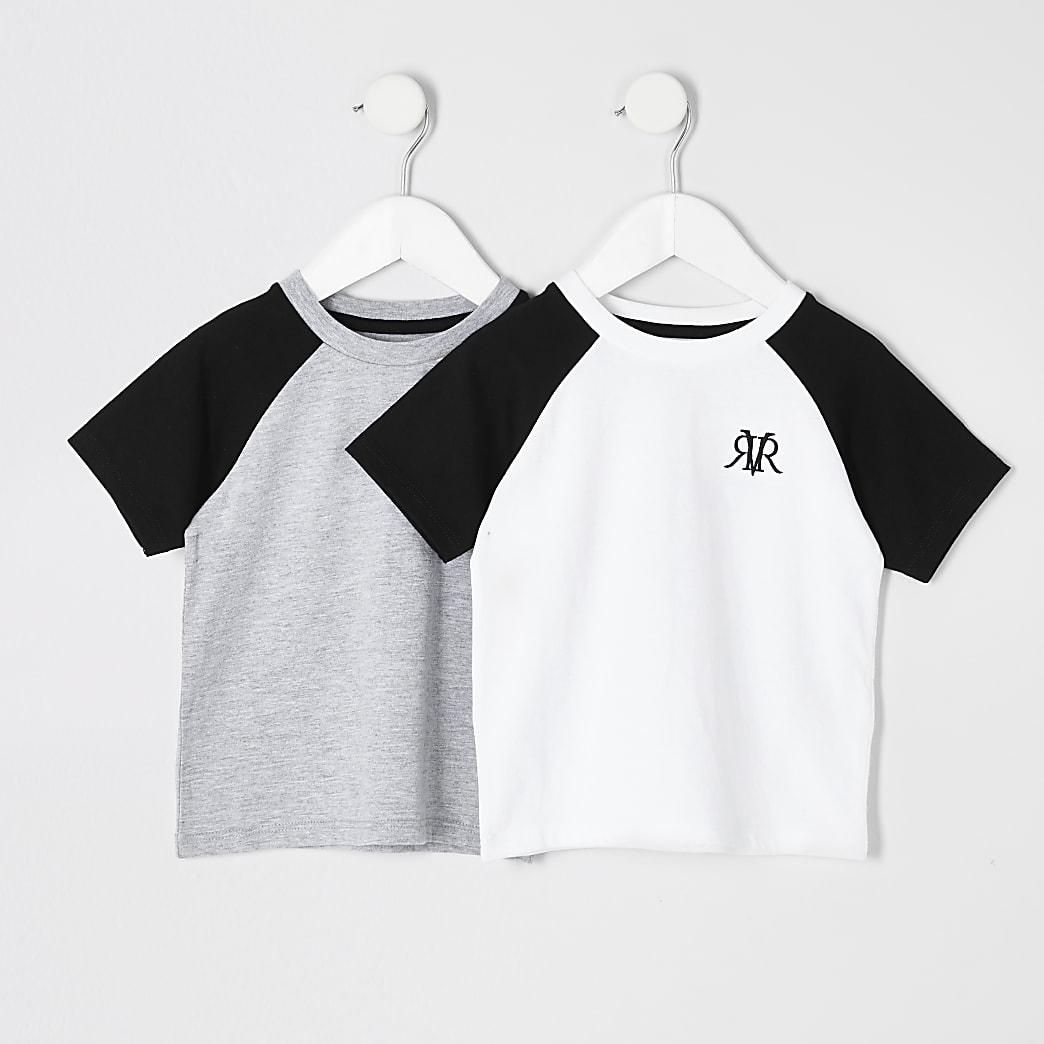 Mini boy white and grey raglan T-shirt 2 pack