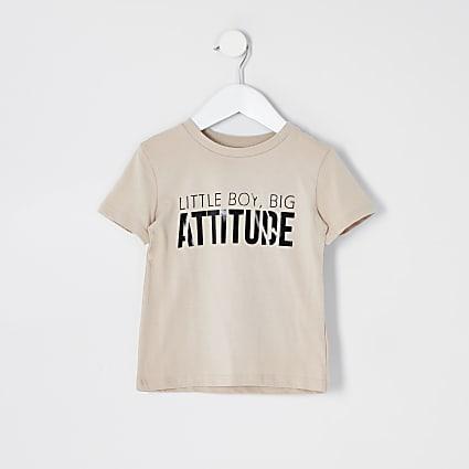 Mini boys beige 'Attitude' T-shirt