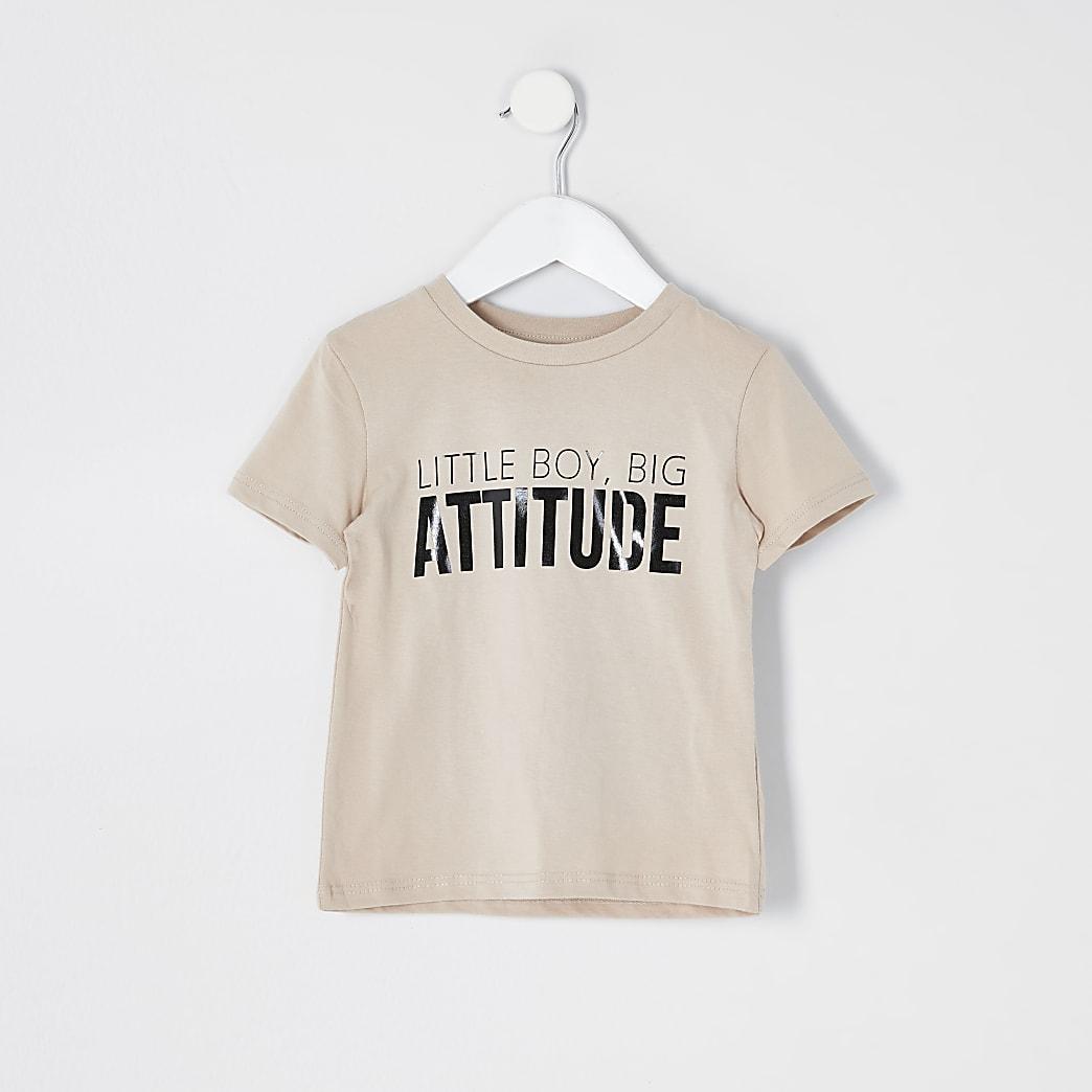 Mini - Beige T-shirt met 'attitude'-print voor jongens
