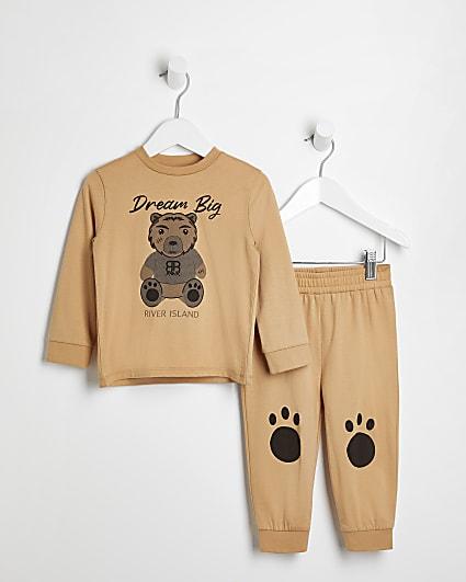 Mini boys beige bear pyjama 2 piece set