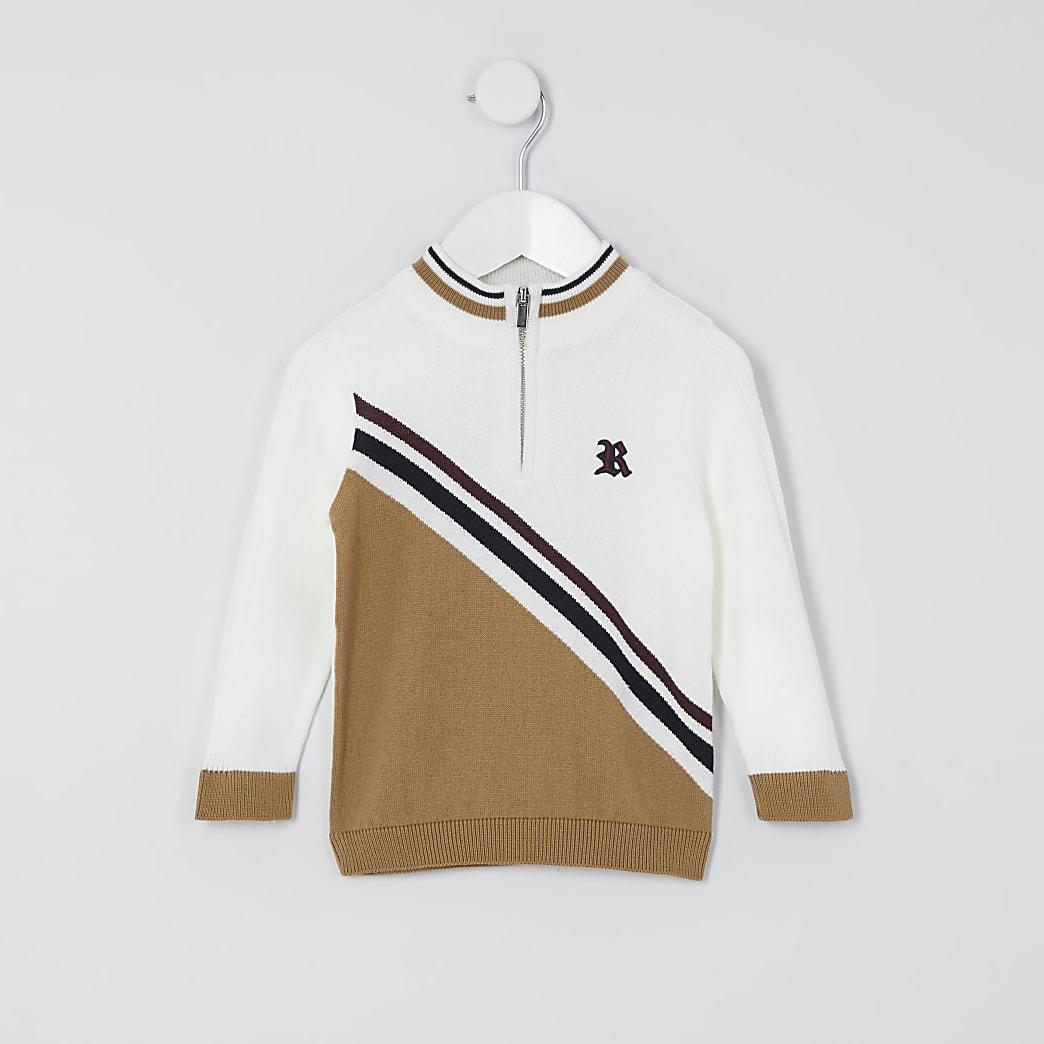 Mini - Beige gebreide trui met kleurvlakken voor jongens