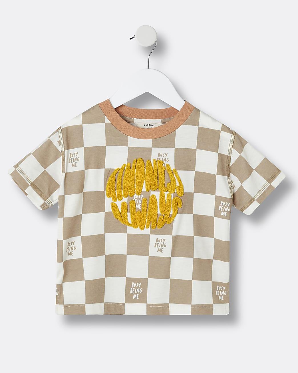 Mini boys beige check print t-shirt