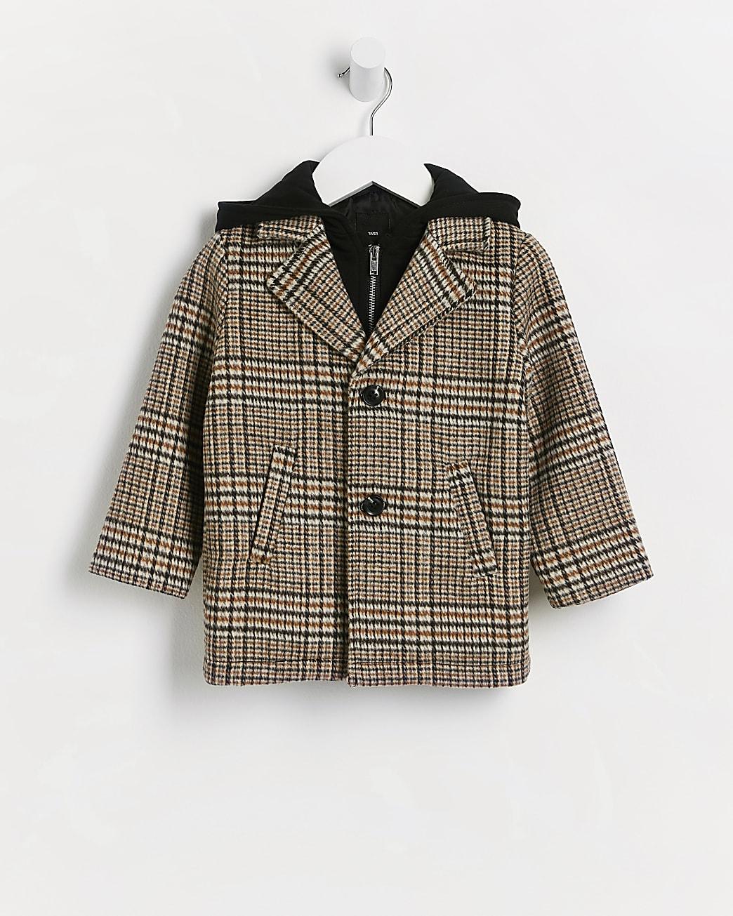 Mini boys beige check print wool coat