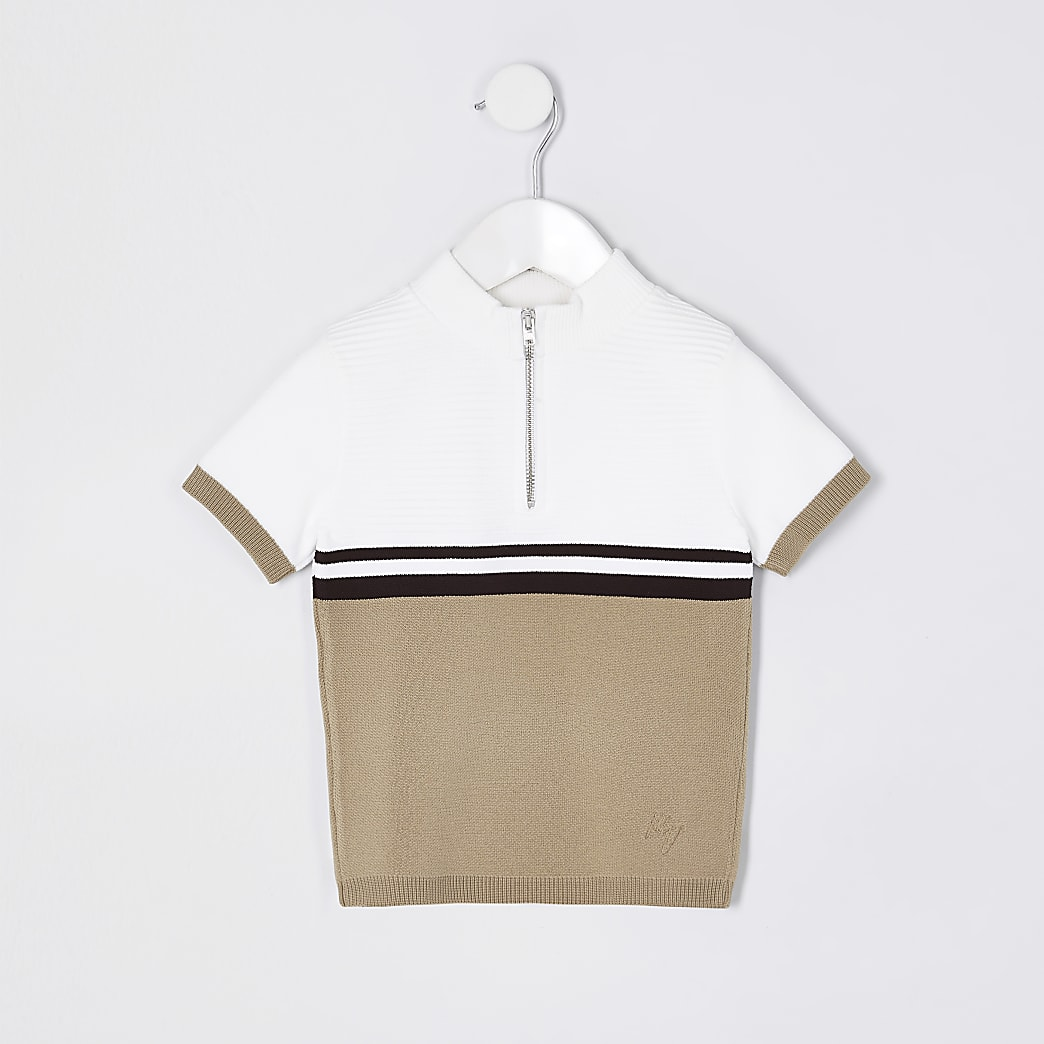 Mini boys beige colour block 1/4 zip polo