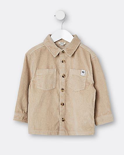 Mini boys beige corduroy shirt