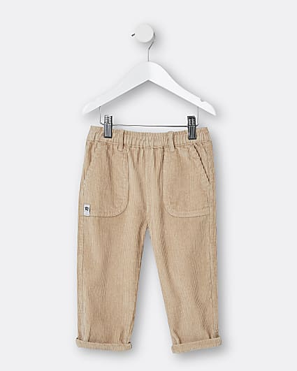 Mini boys beige corduroy trousers