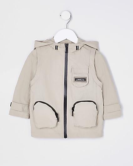 Mini boys beige hooded jacket