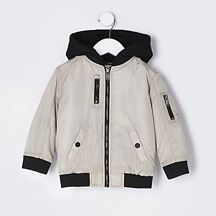 Mini boys beige hooded utility bomber jacket