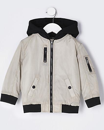 Mini boys beige hooded utility bomber jacket