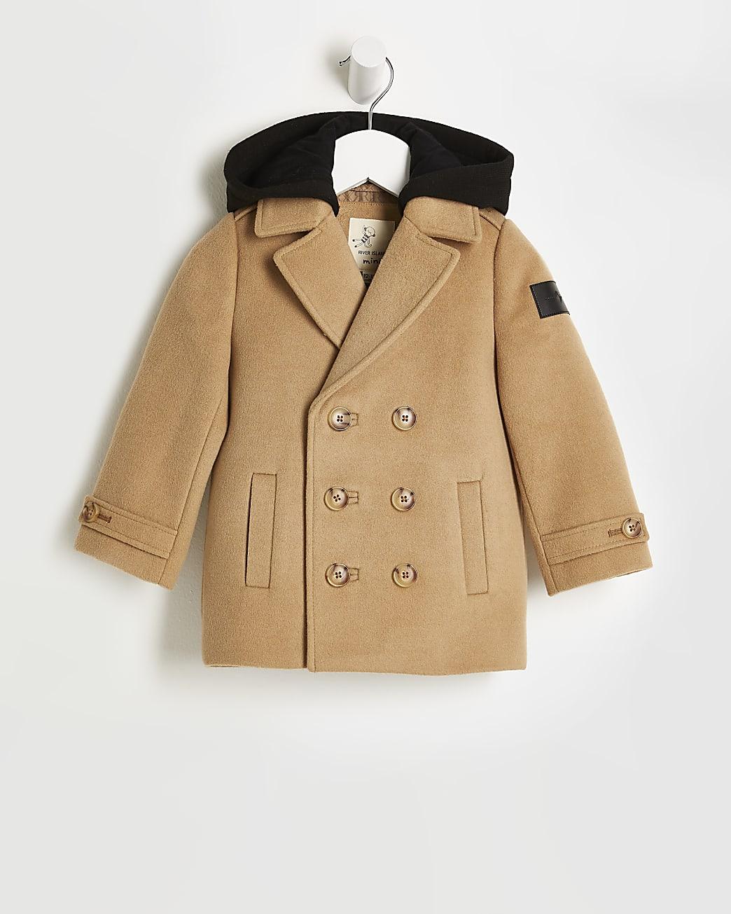 Mini boys beige hooded wool coat