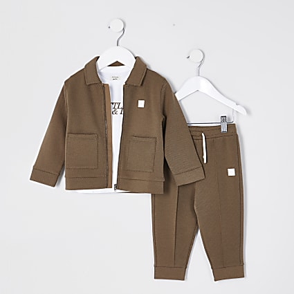 Mini boys beige 'Little and Lit' outfit
