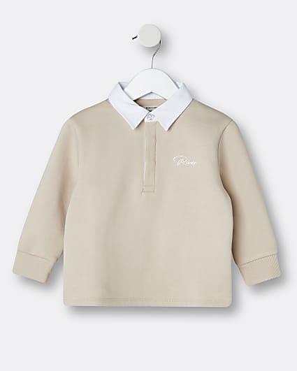 Mini boys beige River long sleeve polo shirt