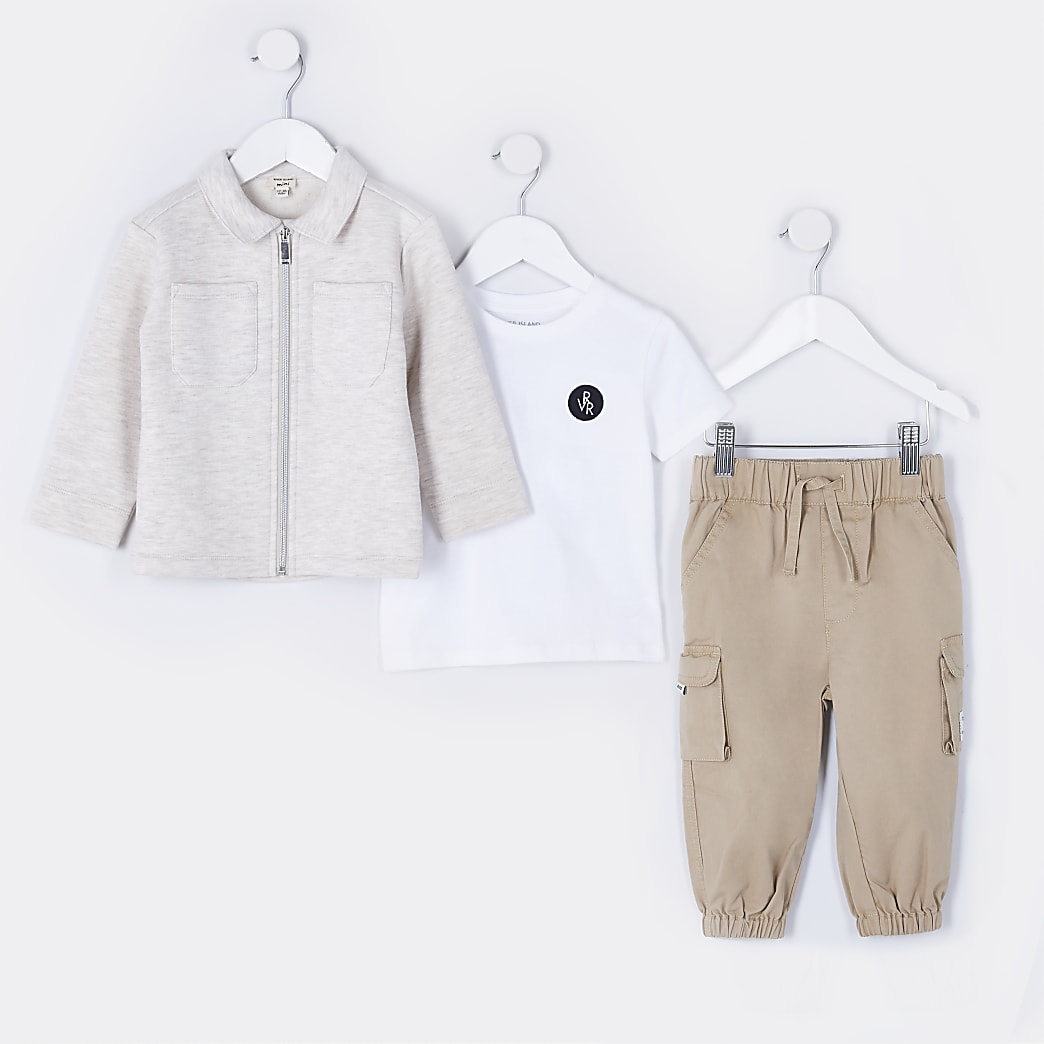 Mini boys beige shacket 3 piece outfit