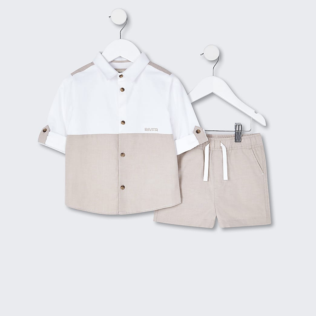 Mini boys beige shirt and shorts outfit