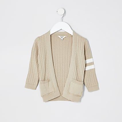 Mini boys beige stripe cardigan