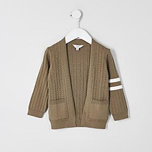 Mini - Beige gebreid vest met strepen voor jongens