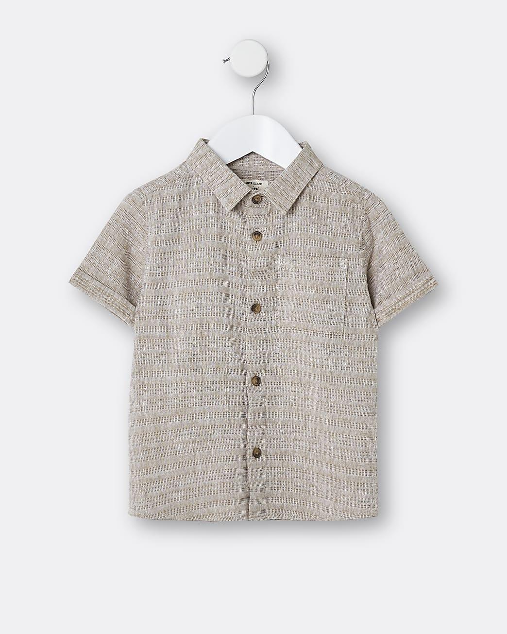 Mini boys beige textured short sleeve shirt