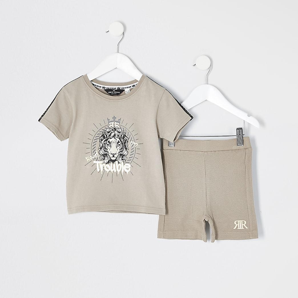 Mini - Beige loungekleding set met T-shirt met 'Trouble'-print voor jongens