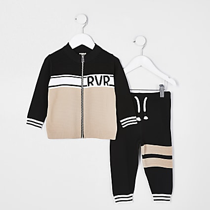 Mini boys black 2 piece track top outfit