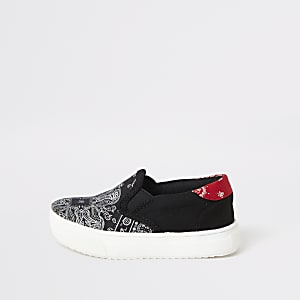 Mini– Schwarze Sneaker zum Hineinschlüpfen mit Bandana-Print
