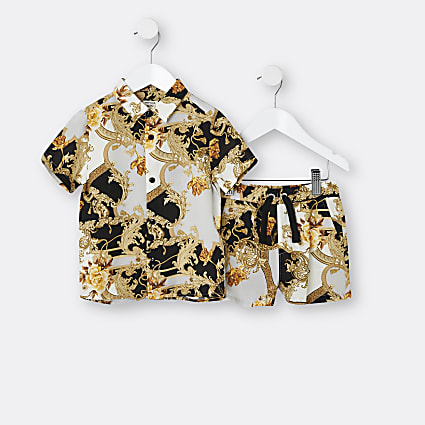 Mini boys black baroque print shirt outfit