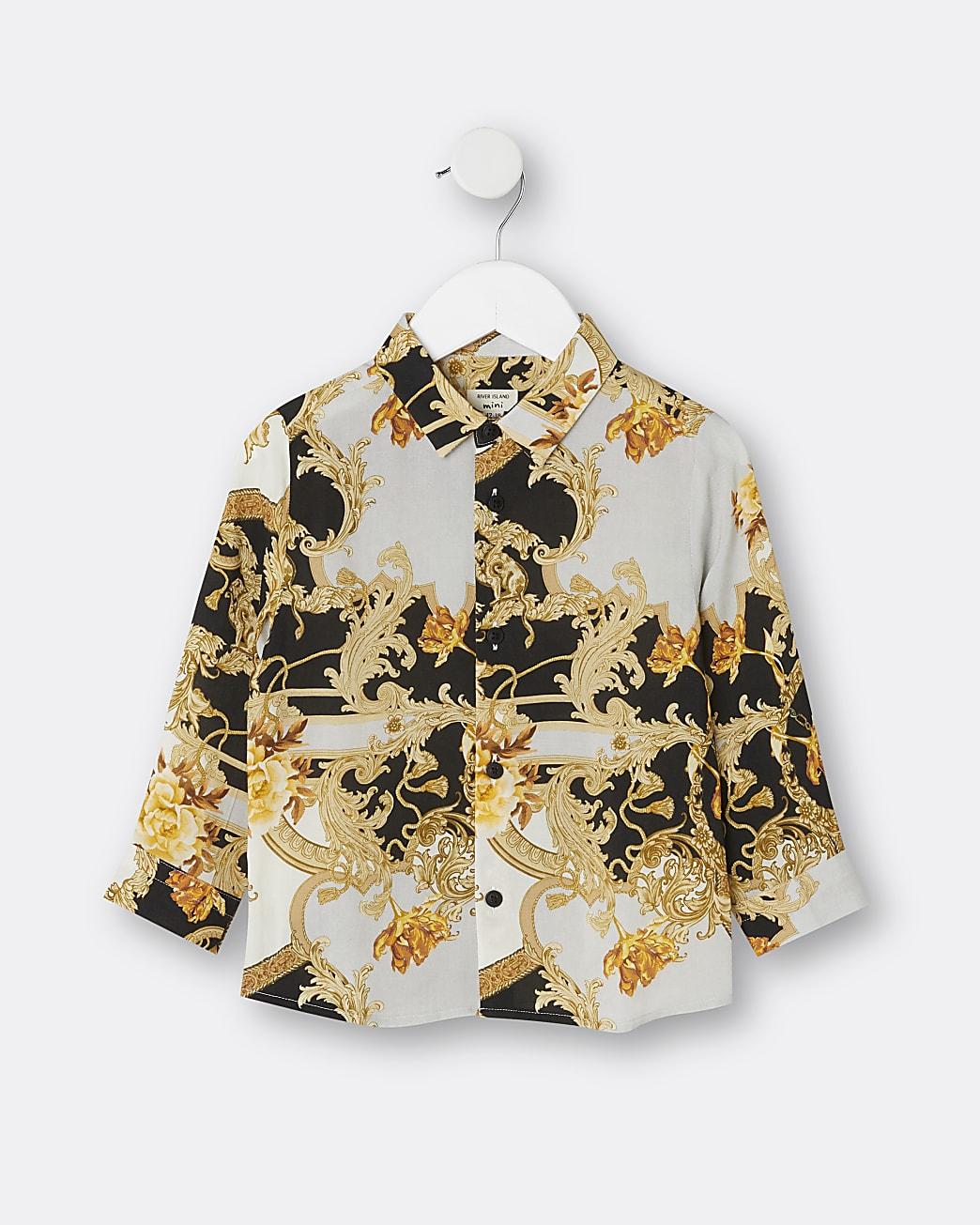 Mini boys black baroque print shirt
