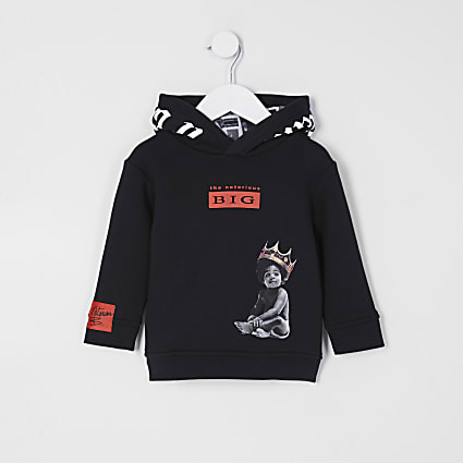 Mini boys black 'Biggie' Hoodie