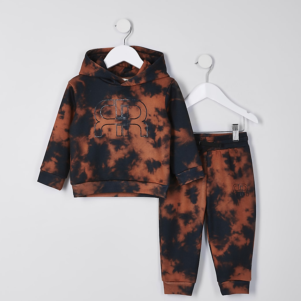 Mini boys black bleached tie dye outfit