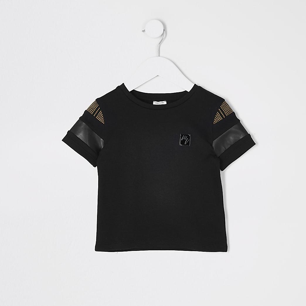 Mini boys black block Masion Riviera T-shirt