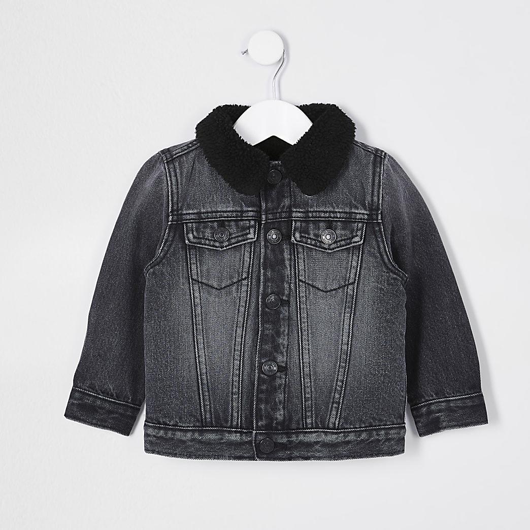 Mini boys black borg lined denim jacket