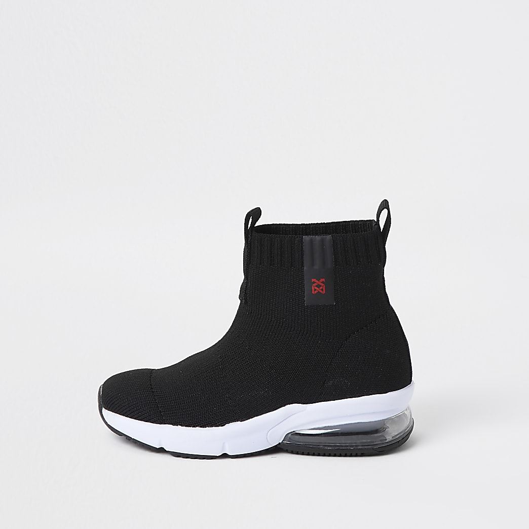 Mini boys black bubble sock hi top trainer
