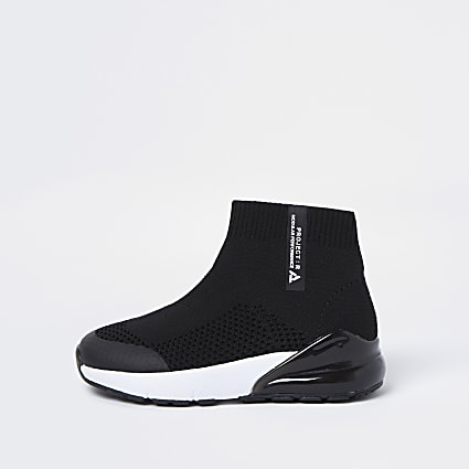 Mini boys black bubble sock hi top trainers