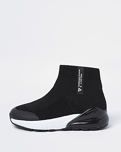 Mini boys black bubble sock hi top trainers