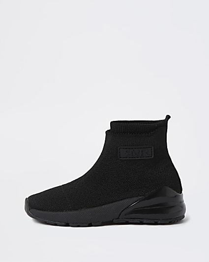 Mini boys black bubble sole sock trainers